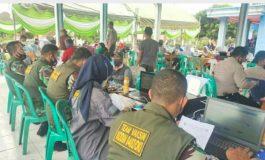Kodim 0402/OKI Gelar Serbuan Vaksinasi Mobile di Desa Tanjung Sari II Kec. Lempuing Jaya OKI
