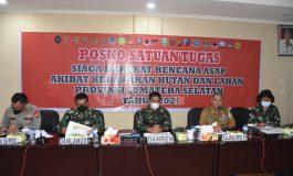 Danrem 044Gapo Pimpin Rakor dan Evaluasi Posko Karhutla Provinsi Sumsel Tahun 2021
